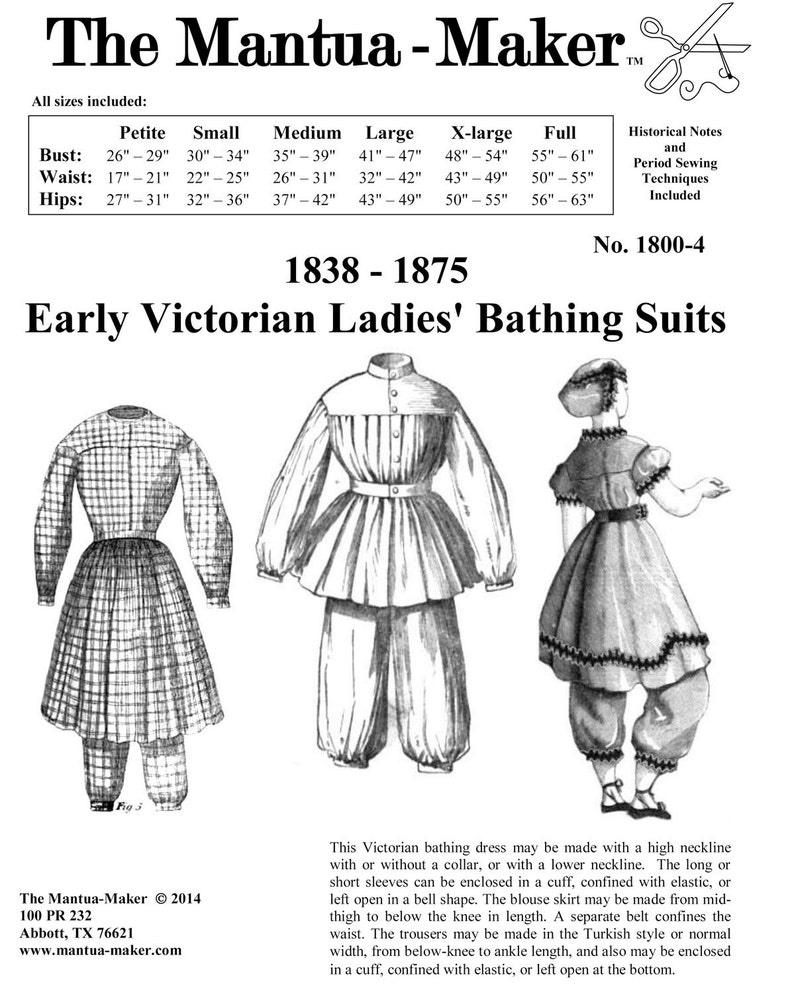Victorian Dresses, Clothing: Patterns, Costumes, Custom Dresses Victorian Bathing Suit Pattern: Multi and Plus Size Historical Sewing Pattern with Several Options - 1800 4 $23.00 AT vintagedancer.com
