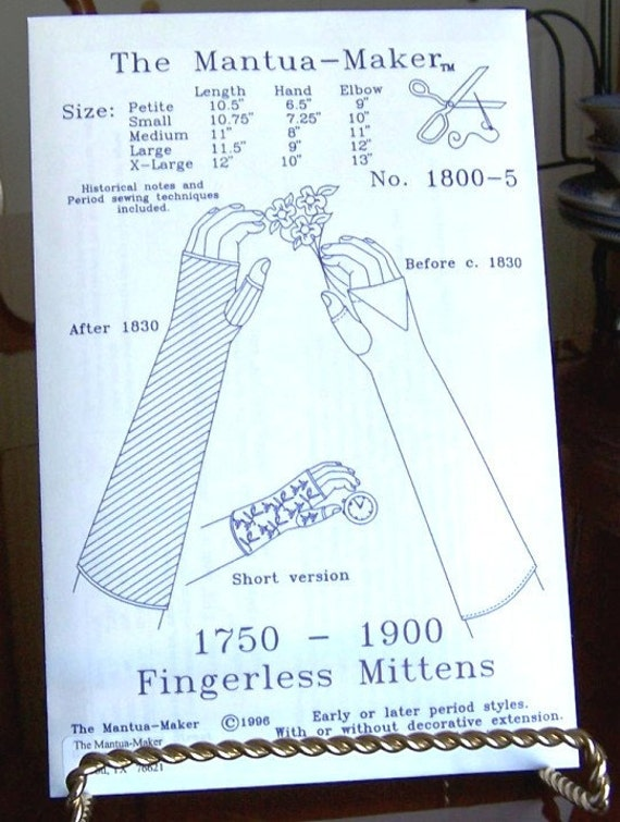 Fingerless Mittens / Gloves Historical Sewing Pattern for 1750 ...