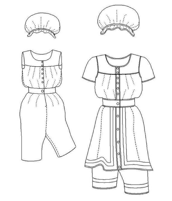 Victorian Bathing Suit Pattern: Multi Size Historical Sewing