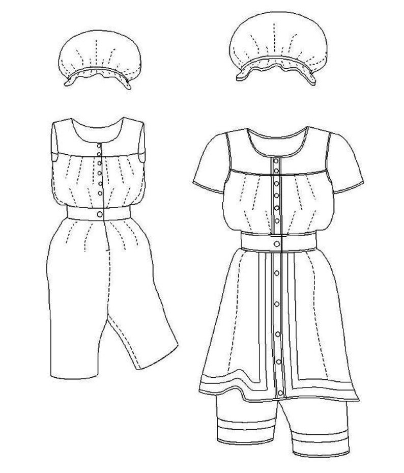 Victorian Dresses, Clothing: Patterns, Costumes, Custom Dresses Victorian Bathing Suit Pattern: Multi Size Historical Sewing Pattern for Ladies. 1880-6 $16.00 AT vintagedancer.com