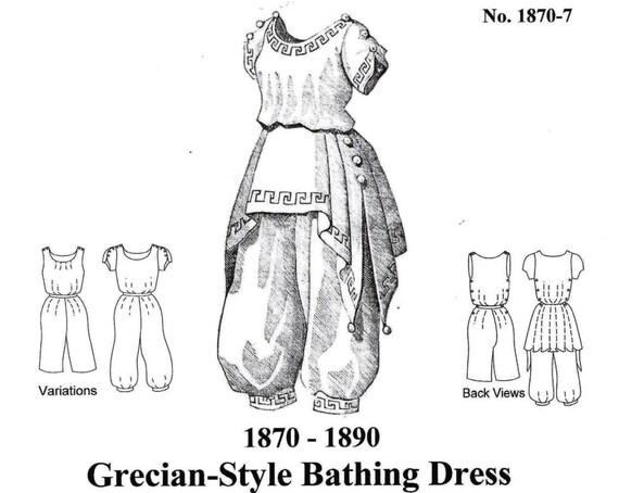 Griechischen Stil viktorianischen Badeanzug Muster. Multi und   Etsy
