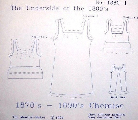 Victorian Chemise Pattern Historical Plus And Multi Sized Etsy