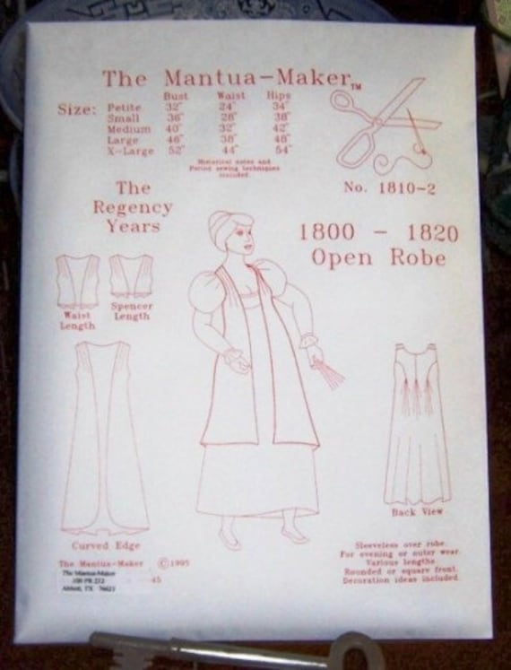 Regentschaft Kleid Schnittmuster für eine offene Robe. Multi &   Etsy