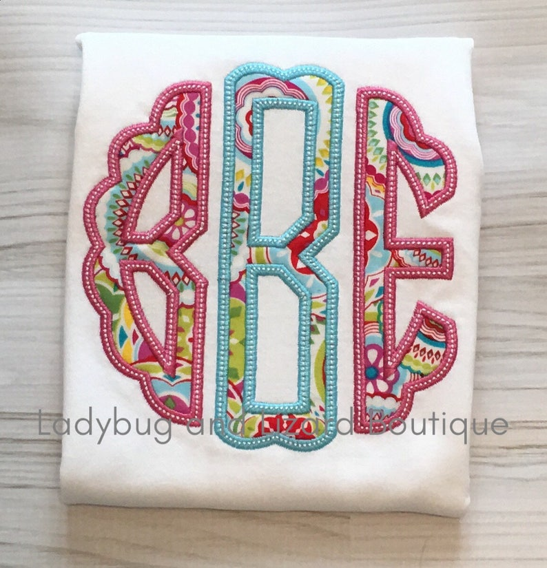 Girl's Scallop Circle Applique Monogram Short Sleeve or Flutter Sleeve Top  Sizes 12M-18M, 2T-5T, 6