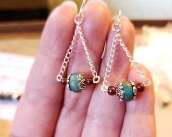 Turquoise Sediment jasper, silver and garnet earrings