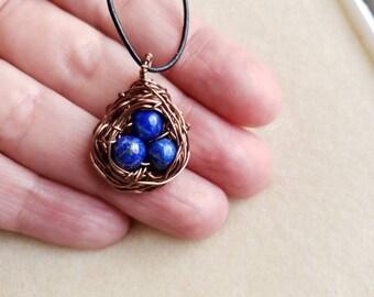 Lapis lazuli bird's nest necklace
