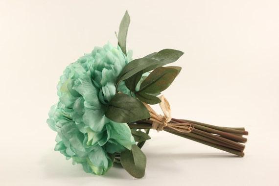 Mint peony bouquet silk flowers wedding bridal tossing etsy image 0 mightylinksfo