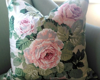 Rose Cummings Cabbage Rose Pillow Cushion Cover.