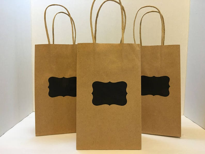 Set Of 12 Small Kraft Bag With Chalkboard Label Natural Or