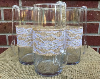 Wedding Candy Buffet Jars, Wedding Centerpiece, Burlap Lace, Bridal Shower Jars, Wedding Candle Holders, Wedding Flower Vases