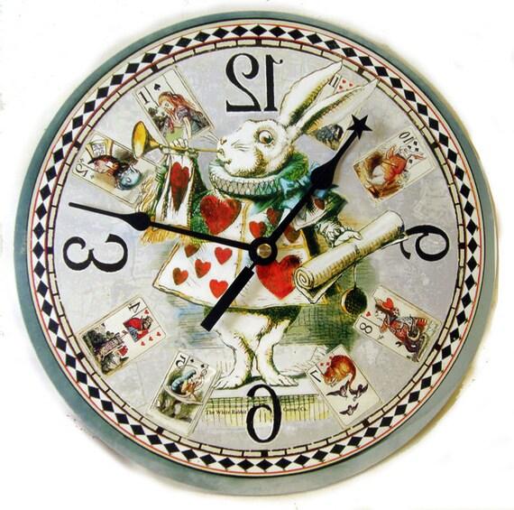 White Rabbit Clock Alice In Wonderland Home Decor Card Etsy