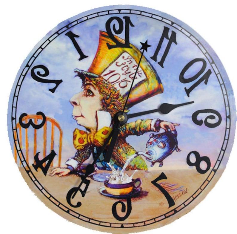 Mad Hatter Klok Achteruit Alice In Wonderland Decor De Klok Etsy