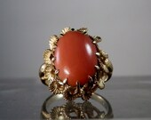 Reserved... 14K Gold Coral Ring. Size 5. Natural coral. Ornate Setting.