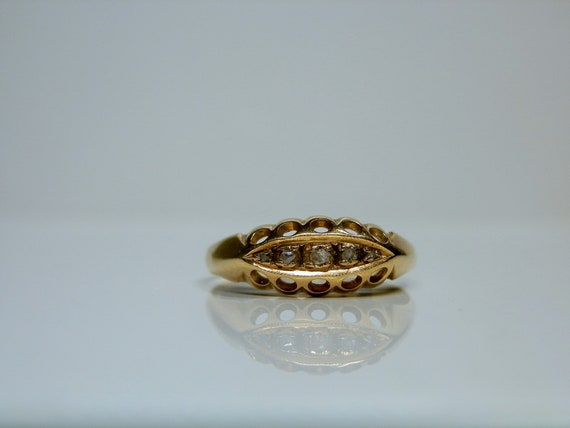 Antique 18k Gold & Rose Cut Diamond Ring. Size 7 … - image 5