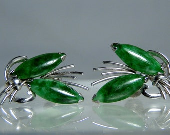 Vintage Imperial Jade 14k White Gold Screw Back Earrings Grade A Natural Jade No Treatments Excellent Condition DanPickedMinerals
