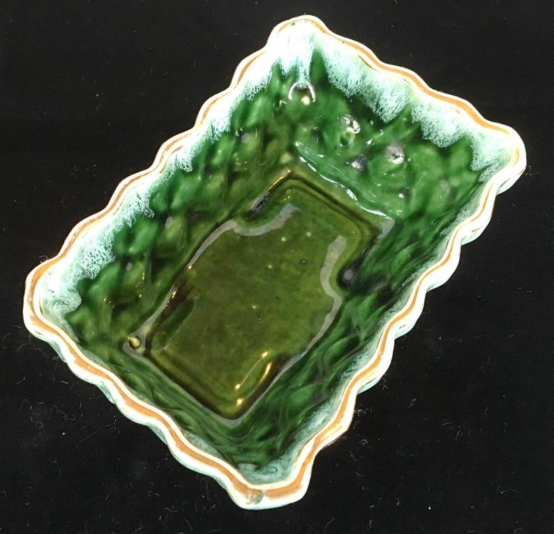 Vintage Retro Planter Dark Green Sage Retangle Sharps 1950/'s Mid Century Ungemach Pottery Gold Trim