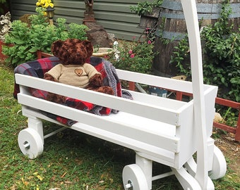 Wedding Wood Wagon Flower Girl Ring Bearer Extra Large Full Size Fully Funtional Porch Decor Photo Prop