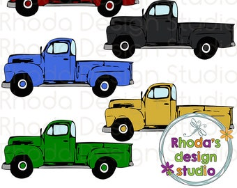 Maroon, Black, Gold, Green, Blue Vintage Pickup Truck Full Side Stamp Digital Clip Art Retro