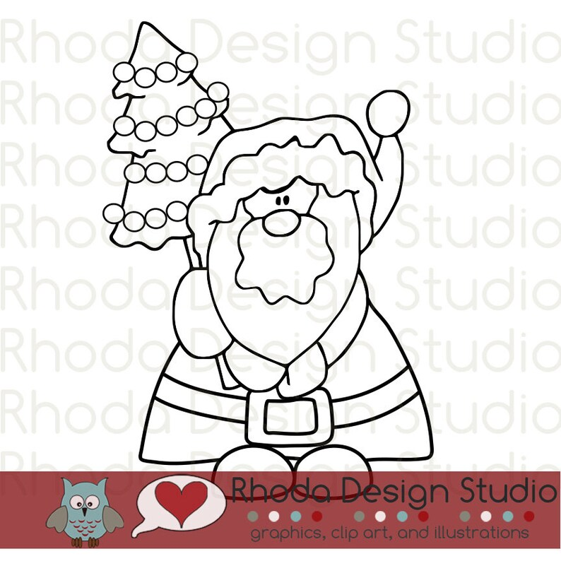 Santa and Tree Digital Clip Art Christmas stamps image 0