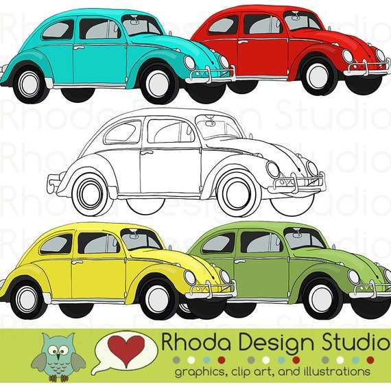 Volkswagen Bug o escarabajo coche Retro sello Digital Clip Art