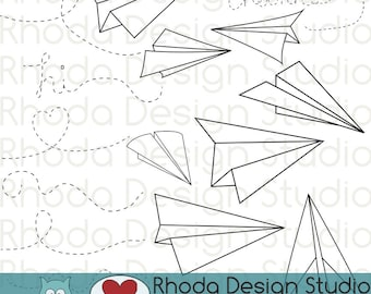 Paper Airplanes Digital Clip Art stamps
