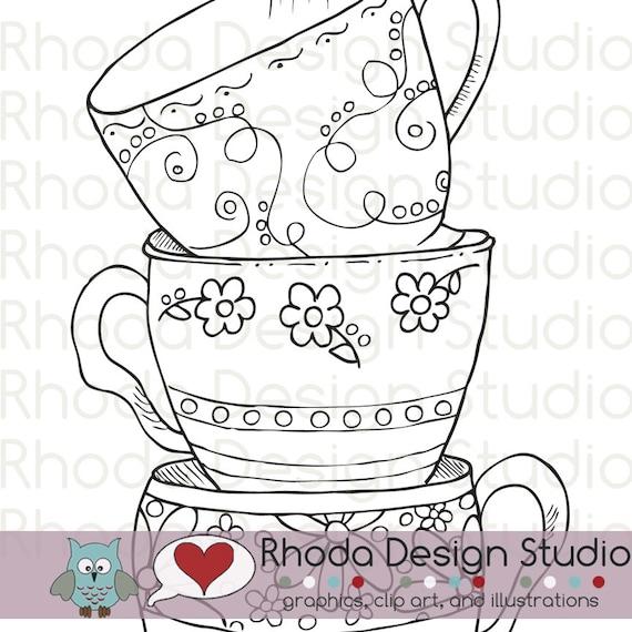 A Stack of Teacups Digital Stamp