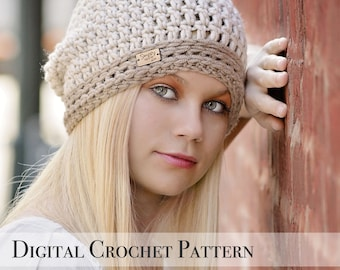 Crochet Pattern / Signature Slouchy Hat Pattern 038 / Crochet Hat Pattern / Womens Slouchy Hat  / Slouchy Beanie / Fall Fashion / Slouch Hat