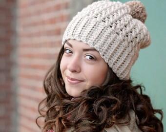 Warm Winter Hat / Chunky Winter Hat for Women / Slouchy Beanie Hat / Crochet Beanie Hat / Pom Pom Hat / Wool Hat / Birthday Gifts for Her
