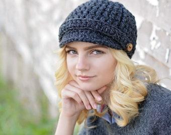d963d3462ae Crochet Newsboy Hat for Women   Women s Winter Hat   Brimmed Beanie Hat    Fall Fashion   Women s Hat   Winter Accessories   Newsboy Cap