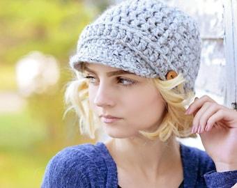 Women's Crochet Hat / Newsboy Hat for Women / Fall Fashion / Women's Winter Hat / Brimmed Beanie Hat / Women's Accessories / Newsboy Cap