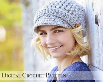Crochet Pattern / Hat Pattern / Ribbed Newsboy Hat Pattern 014 / Brimmed Hat Pattern / Beanie Hat Pattern / Chunky Hat Pattern / DIY Pattern