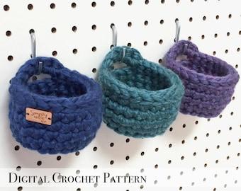 Crochet Pattern / Crochet Basket Pattern / Hanging Basket / PDF Pattern / Storage Bin Pattern / Mini Peg Board Basket Pattern / DIY Gift
