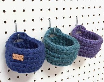 Peg Board Storage Baskets / Hanging Baskets / Craft Room Organizer / Crochet Storage Bin / Trinket Dish / Jewelry Holder / Hanging Organizer