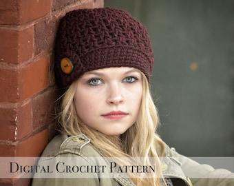 Crochet Pattern / The Vee Beanie Pattern 034 / Crochet Hat Pattern / Womens Beanie Hat  / Chunky Beanie / Fall Fashion /  Winter Beanie Hat