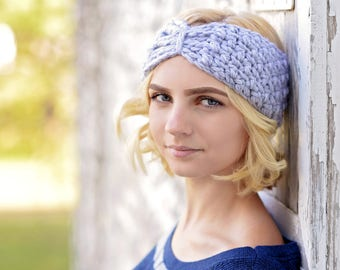 Hand Crochet Ear Warmers  / Turban Ear Warmer / Crochet Headband / Bow Headwrap / Turban Headband / Winter Fashion / Graduation Gift
