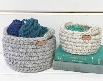 Graduation Gift / Best Friend Gift Basket / Crochet Basket / Storage Bin / Storage Basket with Handles / Entryway Organizer / Jewelry Dish