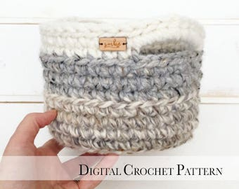 PDF Crochet Pattern / Crochet Basket Pattern / Easter Basket Pattern / DIY Easter Crochet Pattern / Basket with Handles