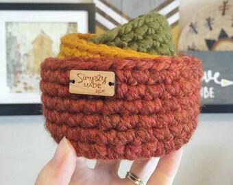 Mini Nesting Bowls / Crochet Bowls / Storage Bowls / Farmhouse Decor / Storage Organization / Fall Decor / Crochet Basket / Storage Basket