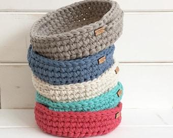 Spring Decor / Crochet Tray / Nursery Room Decor / Coffee Table Tray / Storage Basket with Handle / Housewarming Gift Basket / Fall Decor