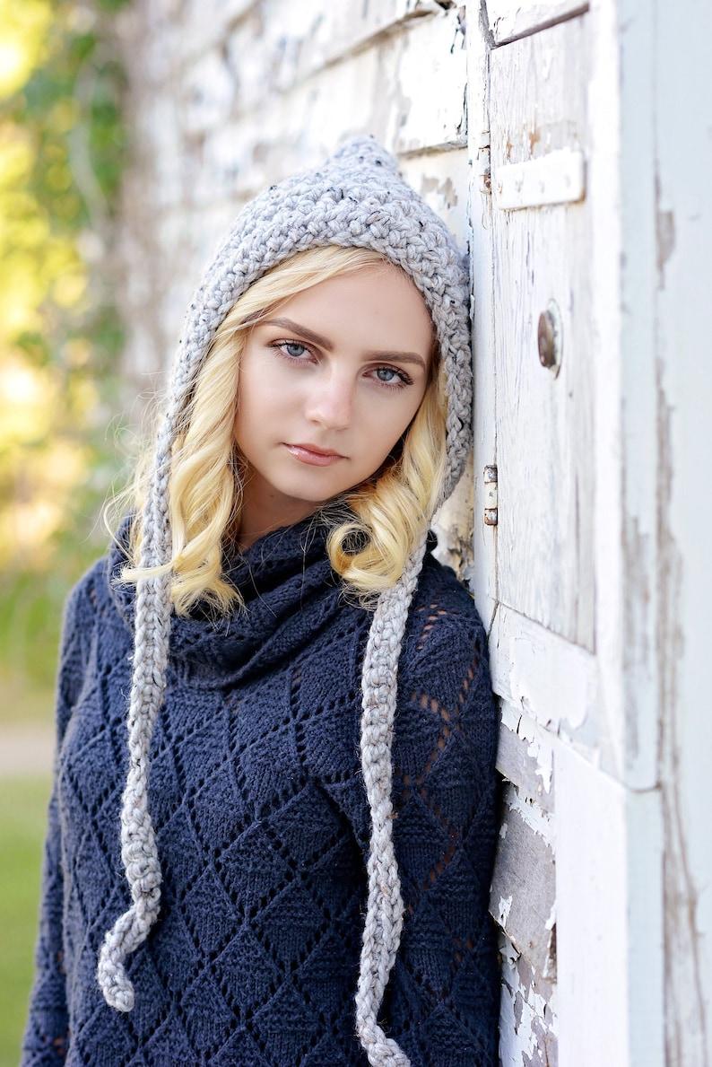 Pixie Hood for Women / Women's Pixie Hat / Crochet Hat / Grey Marble