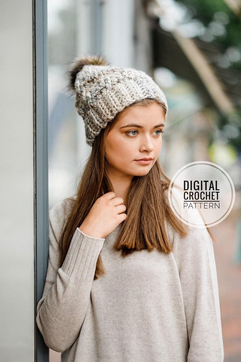 Chunky Hat Pattern / Crochet Winter Hat Pattern / Beanie image 0