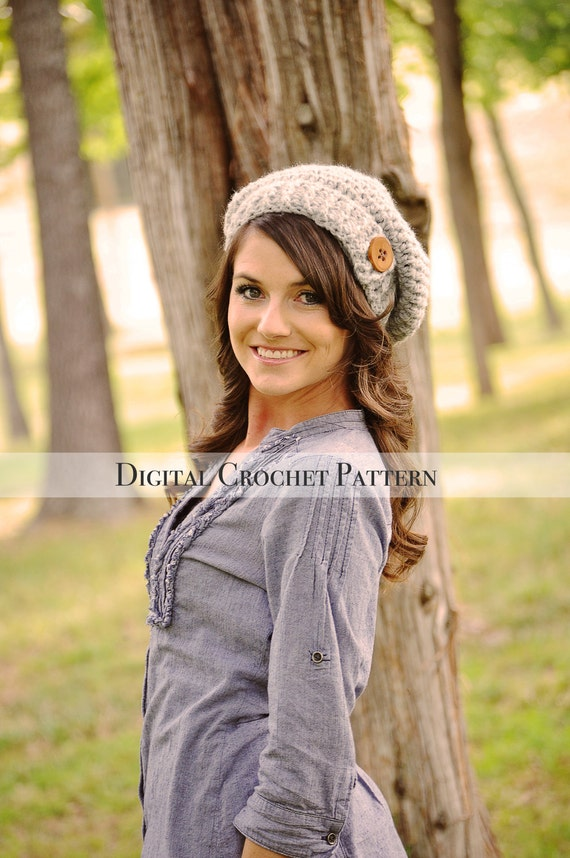 Crochet Hat Pattern Crochet Pattern Button Tab Slouchy Hat Etsy
