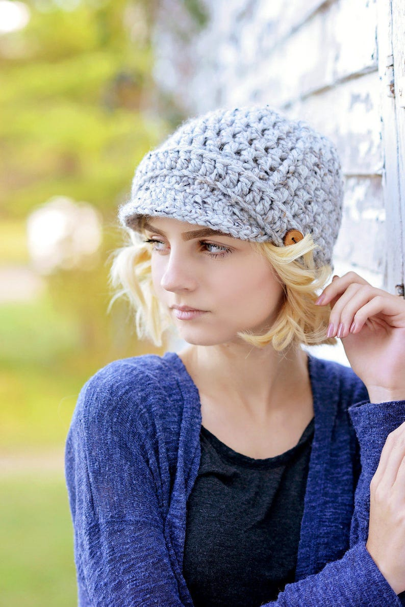 Women's Crochet Hat / Newsboy Hat for Women / Fall Fashion Grey Marble
