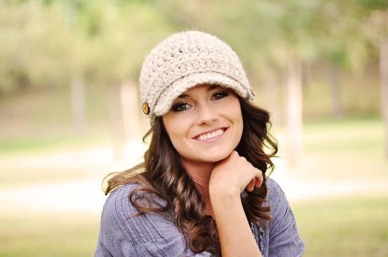 Hand Crocheted Newsboy Hat / Women's Hat / Chunky Crochet Wheat