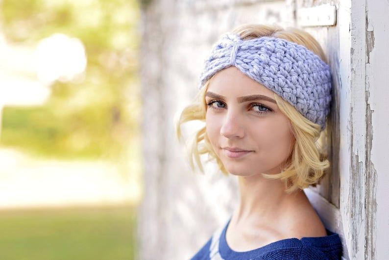 Hand Crochet Ear Warmers  / Turban Ear Warmer / Crochet Pewter/Light Grey