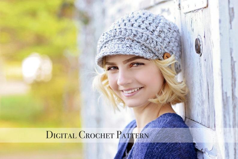 Crochet Pattern / Hat Pattern / Ribbed Newsboy Hat Pattern 014 image 0