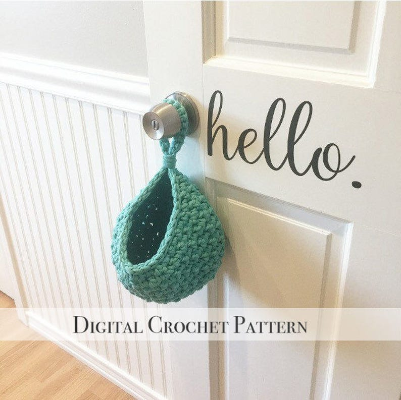 DIY Crochet Pattern / Hanging Basket Pattern / Door Knob image 0