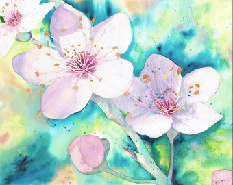 Watercolor Print, Cherry Blossoms, Wall Decor