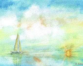 Watercolor Print, Seascape, Setting Sun, Wall Decor