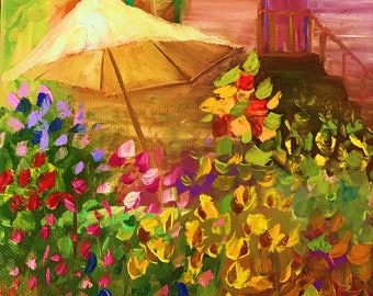French Flower Garden 1, Original Hand Painted Oil Painting. Size 6 x 6 canvas